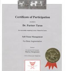 Сертификат об успешном завершении авторского курса Доктора Мариуса Штайгмана