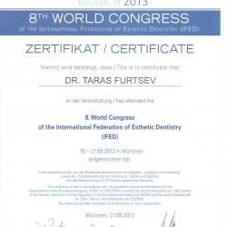 Сертификат об участии в 8-й Конференции Международной Ассоциации Эстетической Стоматологии
