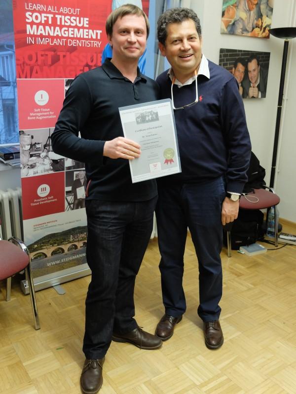 Получение сертификата по завершении 3-х модульного курса по пластике мягких тканей в институте М. Штайгмана, г. Некаргемюнд  (Германия).