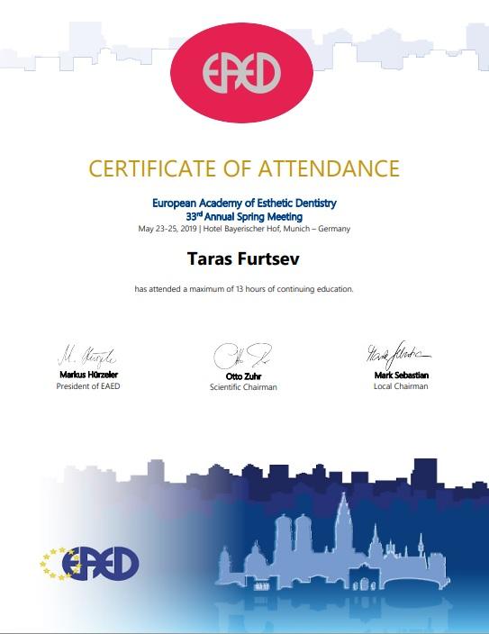 EAED Certificate Of Attendance 2019