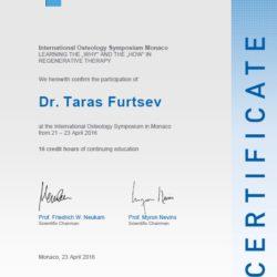 Сертификат об участии в Международном Остеологическом Симпозиуме, Монако, 2016г.  Тема: «ЗАЧЕМ» и «КАК» в восстановительной терапии».