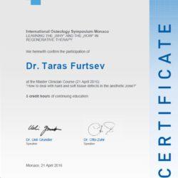 Сертификат об участии в Международном Остеологическом Симпозиуме, Монако, 2016г. Практический мастер-класс на тему менеджмента твёрдых и мягких тканей.