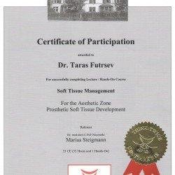Сертификат, подтверждающий успешное завершение 3-х модульного  обучения по работе с мягкими тканями в институте профессора  Штайгмана (Германия).