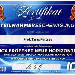 Сертификат, подтверждающий участие в качестве эксперта по имплантологии в семинаре по применению имплантологических систем ICX (Германия), март 2019-го года.